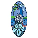 oval window treatments - Stained Glass Panel - Majestic Peacock Oval Stained Glass Window Hangings - Window Treatments