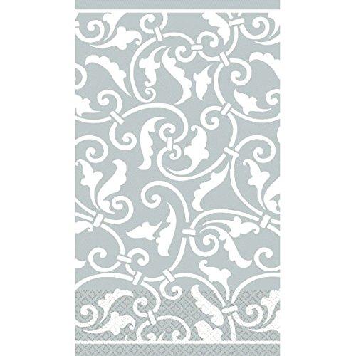 (Silver Ornamental Scroll Guest Paper Towels | 16 Ct. | 4