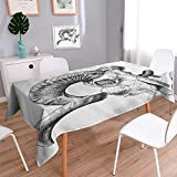 Liprinthome Water Resistant Tablecloth Skull and Blooms Catholic Popular Ceremy Celebrating Artistic Vintage Great for Buffet Table, Parties, Holiday Dinner, Wedding & More/54W x 72L Inch