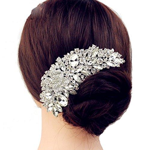 Luxury Bridal Wedding Flower Crystal Rhinestone Hair Clip Comb Pin Drops Alloy Bridesmaid wedding Accessories Jewelry by Mezoxa