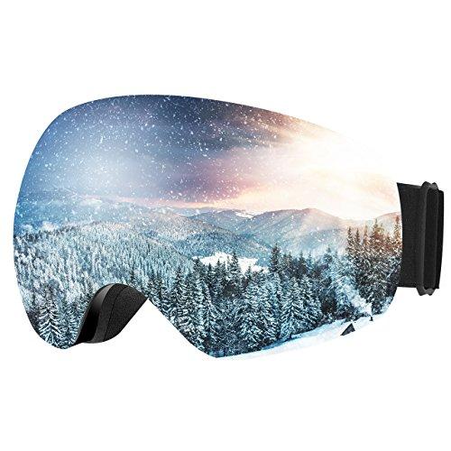 Patech 스노우 고글 스키 보드 99%UV컷 흐려 방지 남녀 겸용 구면 렌즈 방풍/방설/방진 등산/스키 등용