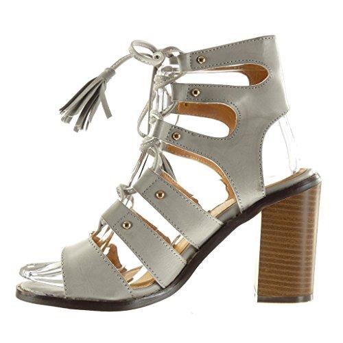 Femme Talon 9 5 Frange Mode Bottine Sandale Haut Spartiates Chaussure cm Pom Clouté Sexy Gris Pom Angkorly Bloc qAYPgxH