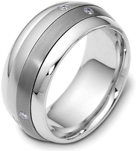 Dora Titanium Ring (9mm Titanium & 18 Karat White Gold SPINNING Diamond Band Ring - 12.5)