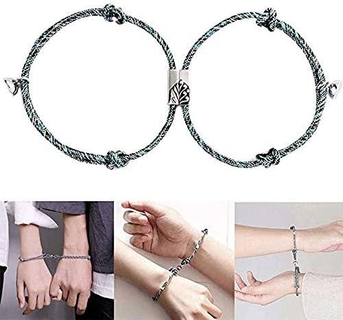 2 Stück Paare Freundschaftsbänder ZGL, Magnetarmband Freundschaftsseil Kit, Lucky Friendship Armband Kit Erwachsene für Männer Frauen (A)