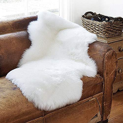 NANWUJI Luxury Soft Faux Sheepskin Rug Chair Armchair Cover Pad Mat Plush Floor Area Rug 2ft3.2ft Ivory White