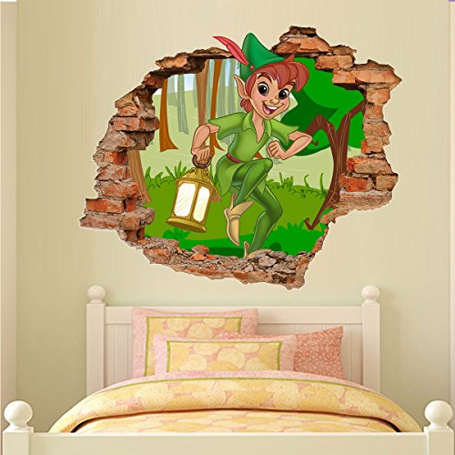 Adesivo de Parede Buraco Falso 3D Peter Pan - G 82x100cm