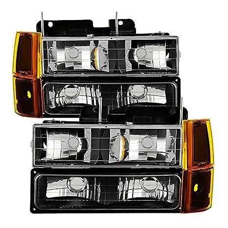 Xtune HD-JH-GCK94-AM-C-SET Headlight 4-99 // Chevy Suburban 94-98 // GMC Yukon 94-99 Not Compatible With Seal Beam s W// Corner /& Parking Lights 8pcs sets -Chrome