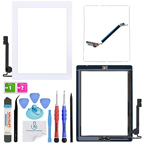 Generation Replacement Lcd Screen - OmniRepairs-for iPad 4 (4th Generation) Glass Touch Screen Digitizer OEM Assembly Replacement with Home Button Flex, Adhesive Tape, Midframe Bezel, Screen Protector, and Repair Toolkit (iPad 4 White)
