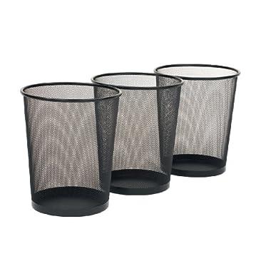 Seville Classics 3-Pack Mesh Wastebaskets, Black,(6 GAL) 12  x 9 x 14