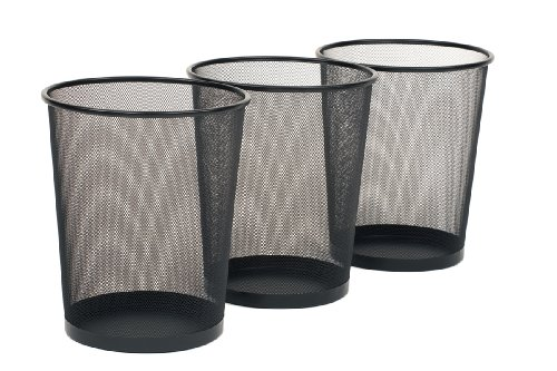 Black Finish Round Tapered (Seville Classics 3-Pack Round Mesh Wastebasket Recycling Bin, 6 Gal, 12