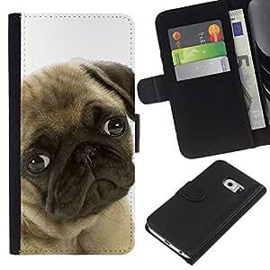 eJoy---La carpeta del tirón la caja de cuero de alta calidad de la PU Caso protector - Samsung Galaxy S6 EDGE - --Pug Sad Shy Puppy Guilty Look Dog Small