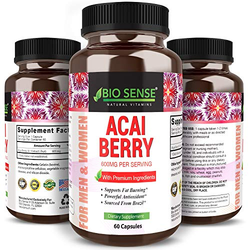 Bio Sense 100% Pure Acai Berry Extract Detox & Cleanse Weight Loss Supplement Boost Metabolism Increase Energy and Brain Function High in Antioxidants for Men and Women 60 Capsules ()