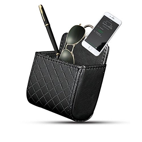 Yosoo Car Auto Seat Back Interior Air Vent Cell Phone Holder Pouch Bag Box Tidy Storage Coin Bag Case Organizer with Hook (Black)