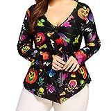 Clearance Women's Halloween Plus Size Long Sleeve Tops ODGear Pumpkin Bone Printed V Neck Irregular Shirt Blouse