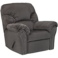 Ashley Furniture Signature Design - Kinlock Polyester Uphostered Rocker Recliner with Nailhead Trim - Contemporary - Charcoal