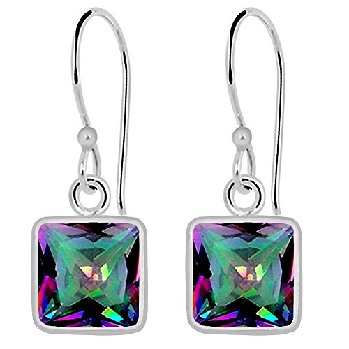 Orchid Jewelry Faceted 925 Sterling Silver Gemstone Mystic Topaz Earrings, Multi Color Gemstones, Handcrafted, for Girls and Women's, Box (7 Mm Cushion, 3.00 - Orchid Faceted