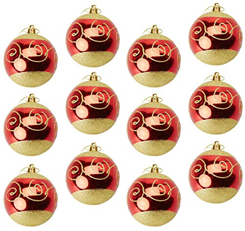Juvale 12-Pack Christmas Tree Ornaments - Red and Gold Shatterproof Large Christmas Balls Decoration, Classic Holiday Design with Glitter, Hanging Plastic Bauble Decor, 2.7 Inches ()