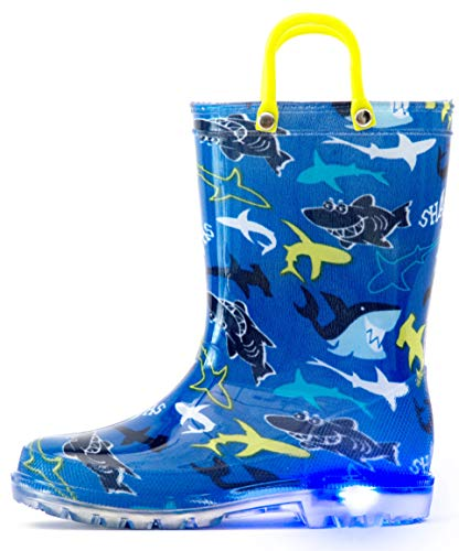 Outee Kids Rain Boots Toddler Boys Light Up Printed Waterproof Shoes Lightweight Cute Blue Shark with Easy-On Handles and Insole (Size 1,Blue)