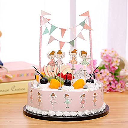 Gift Prod 2 Pcs Mini Happy Birthday Cake Bunting Banner Topper Garland