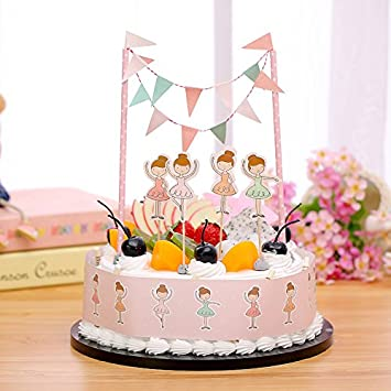 Gift Prod 2 Pcs Mini Happy Birthday Cake Bunting Banner Topper Garland Handmade Pennant