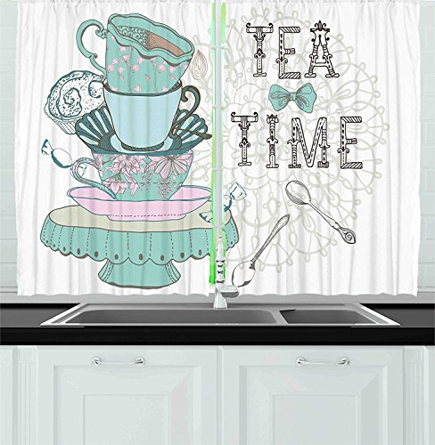 Avondale Cup (Kitchen Decor Collection Vintage Style Tea Time Party Print Home Cafe Design Floral Classic Cup Collection Window Treatments for Kitchen Curtains 2 Panels White Turquoise)