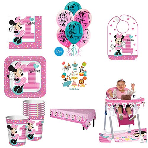 (1st Birthday Minnie Mouse Party Supplies Pack Including Plates, Cups, Napkins, Table Cover, High Chair Kit, Bib and Balloons for 16 Guests Minnie Fun to be One!)