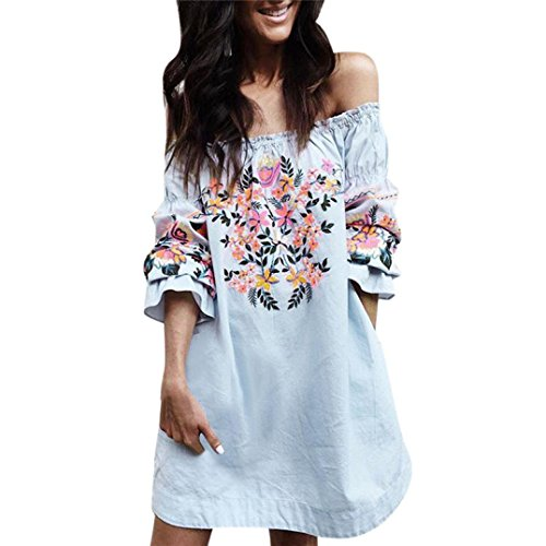 Newest Women Off Shoulder Floral Long Sleeve Beach Party Shirt Dress (Blue, L) by FreshZone