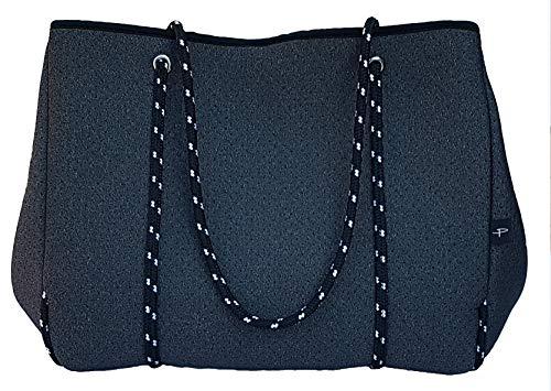 Light Designer Tote Bag for Women, Neoprene Shoulder Carry Hobo Bag, Large & Durable in Marle Grey