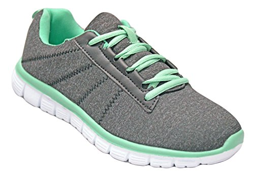 Womens Athletic Knit Mesh Running Sneaker Light Weight Go Easy Walking Casual Comfort Running Shoes Version 2.0 (7, Black/Green) (Female Running Sneakers)
