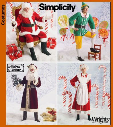 Simplicity 4393 Pattern ~ Holiday Christmas Costumes Santa Claus, Mrs, Elf, Old World SIZE XS, S, M