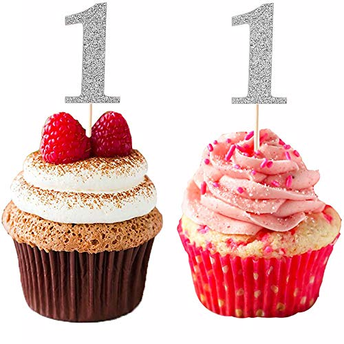 DIYxin Glitter 1st First Birthday Cupcake Toppers, 24 Pcs Baby Party Cake Toppers Decorations-Sliver