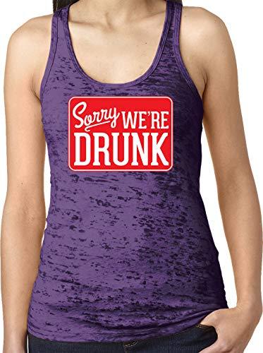 (Amdesco Ladies Sorry We're Drunk Burnout Racerback Tank Top, Purple Rush XL)