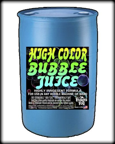 Froggys Fog - HIGH COLOR Bubble Juice - Strong Long-Lasting Iridescent Brilliant for All Bubble Machines and Bubblers - 55 Gallon Drum by Froggys Fog