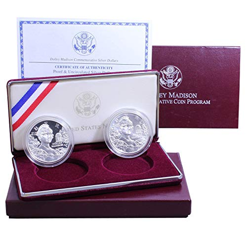 1999 P Dolley Madison Commemorative Dollars 2 Coins 90% Silver US Mint Gem Deep Came Proof and Brilliant Uncirculated