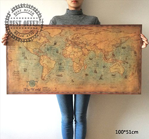 NEW Large Poster Navigation Retro Paper World Map globe earth Wall Home Decor A3