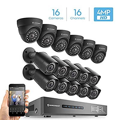 Amcrest UltraHD Video Security System - Four 4MP Weatherproof IP67 Bullet Cameras, 98ft IR LED Night Vision, Hard Drive Not Included, HD Over Analog/BNC, Smartphone View…… by Amcrest