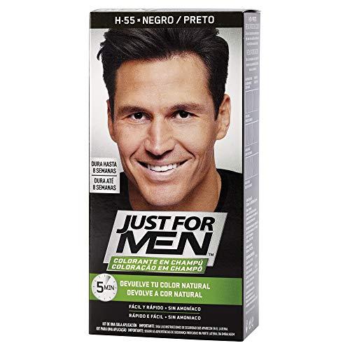 Just For Men, Tinte Colorante en champu para el cabello del hombre. Elimina las canas y rejuvenece el cabello en 5 minutos. Castano Negro, 30 ml