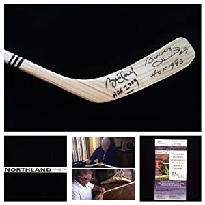 Bobby Hull Brett Hull Chicago Blackhawks St. Louis Blues Signed Autograph Northland Hockey Stick. JSA COA