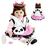 Aori Realistic Reborn Doll 22 Inch Lifelike Handmade Soft Body Toy Weighted Reborn Baby Girl with Panda Set