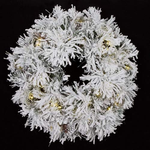 34 Inch Heavy Flocked Long Needle Pine Wreath with LED Lights Autograph Foliages ()