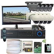 GW Security Inc. 8CHH2 8-Channel HD-SDI High Definition DVR Lens Security Camera System (Black/White)