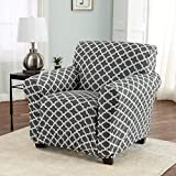 Home Fashion Designs Printed Stretch Arm Chair Furniture Cover Slipcover Brenna Collection, Charcoal