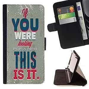King Case - FOR HTC One M7 - Looking for a sign - Prima caja de la PU billetera de cuero con ranuras para tarjetas, efectivo Compartimiento desmontable y correa para la mu?eca