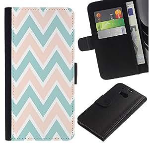 APlus Cases // HTC One M8 // Chevron Diseño rosa melocotón verde blanco // Cuero PU Delgado caso Billetera cubierta Shell Armor Funda Case Cover Wallet Credit Card