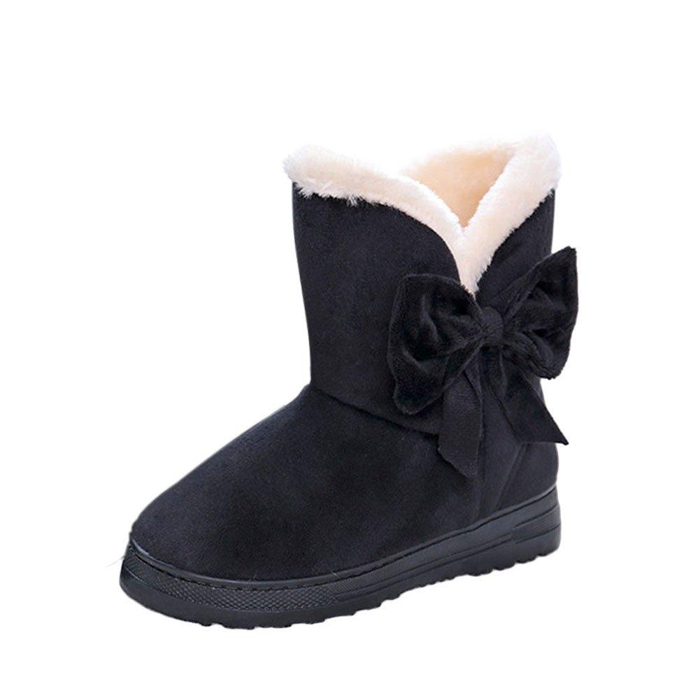 Meijunter Femmes Hiver Bottes Chaud Confort Fit Noir Bowknot Bottes Confort De Neige Occasionnels Slip-on Flats Chaussures Noir ff01af0 - boatplans.space
