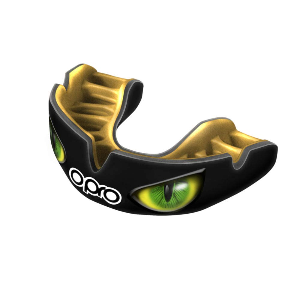 OPRO Power-Fit Mouthguard | Adult Handmade Gum Shield + Strap for Football, Lacrosse, Hockey and Other Contact Sports - 18 Month Dental Warranty (Ages 10+) (Black/Green Eyes) by OPRO (Image #2)