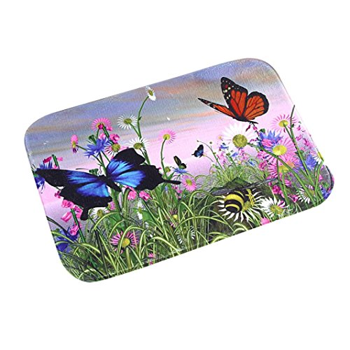 Tile Edge Linen (YJYdada Butterfly Door Kitchen Carpets Memory Foam Bathroom Absorbent Non-slip Mat)