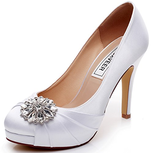 LUXVEER High Heel Women Shoes Satin Wedding Shoes With