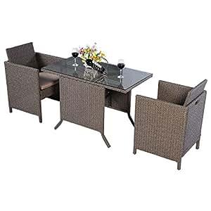 FDS ratán Conjunto de muebles de jardín mesa de comedor Sillas
