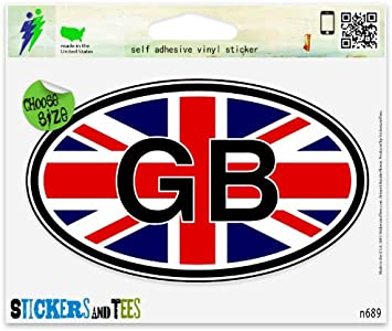 "GB Great Britain Oval car window bumper sticker decal 5/"" x 3/"""